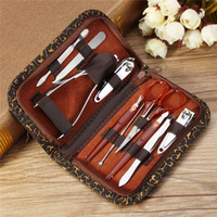 Wholesale Deluxe Nails - 10pcs Nail Clipper Kit Nail Care Set Pedicure Scissor Tweezer Knife Ear pick Manicure Set Tool with Deluxe Carrying Case