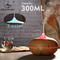 Wholesale Cool Yoga - Wholesale 300ml Aroma Essential Oil Diffuser GX-12K Wood Grain Ultrasonic Cool Mist LED Light Humidifier for Office Home room Study Yoga Spa