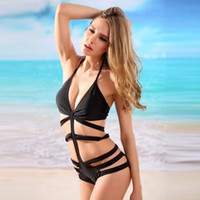 2017 Hot Strappy Triangle Monokini Swimsuit Ladies Black Bandage One Piece Swimwear Cheap Bikini Batida de banho CCG0301