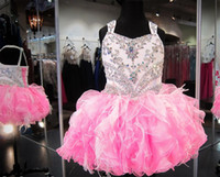 Wholesale Glitz Cupcake Party Dress - Crystal Beaded Glitz Cupcake Pageant Dresses Puffy Organza Ruffled Feather Pink Ivory Ball Gown Toddler Little Girls Birthday Party Dress