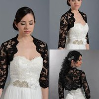 Wholesale Tulle Cap Bolero - Black Wedding Bridal Bolero Jacket Cap Wrap Shrug Half Sleeve Front Open Backless Cheap Custom Made Jacket for Wedding White Ivory Sexy