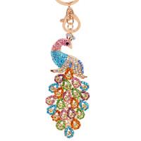 Wholesale Peacock Lovers - Bling Bling Crystal Rhinestone Peacock Metal Keychain Keyring Car Keychains Purse Charms Handbag Pendant Wedding Gift