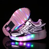 Wholesale Gold Wheels Skate - Fashion Children Led Roller Skate Shoes Kids Sneakers with Wheels Boys Girls Led Light Up USB Rechargeable Luminous Sneakers Wholesale