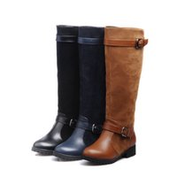Wholesale Large Size High Heel Boots - high boots tube sleeve round head with women chunky heel for winter knee high boots Ladies shoes womens boots large size 35-43. XZ-064