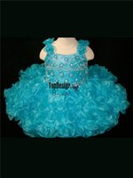 Wholesale Turquoise Infant Dresses - 2017 EYE CATCHING TURQUOISE STRAPS INFANT PAGEANT GOWN CUPCAKE BIRTHDAY DRESS BR1069 WHOLESALE FREE SHIPPING