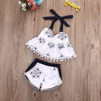 meninas set cinto venda por atacado-Atacado-Toddler bebê meninas roupas regata T-shirt sem mangas Shorts Belt Infantil Cute Baby Girl Clothing 2pcs Outfit Set