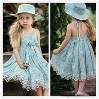 Wholesale Drawstring Dress - 2017 Girls Summer Dresses Kids Floral Bowknot Dress Children Girls Cute Lace Beach Skirt backless Halter Drawstring Dress 3 Colors KD18