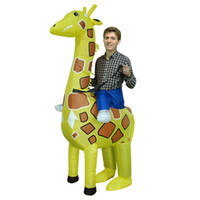 Wholesale Inflatable Ride Animals - Free Shipping Adult Size Inflatable Costume Giraffe Ride on Toy Carry on Animal Halloween Party Blow Up Inflatable Suit Fancy Dress