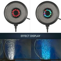 Wholesale multi color mini lights - High Quality Gas Disc Waterproof LED Light Multi Color Fish Tank Lamp QP-50 Mini Aquarium Lights Bubble Aeration Disc 1.2W