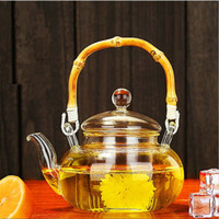 ingrosso fiori della pentola della porcellana-Hot Drinkware 600ML Set da tè in vetro borosilicato Pratico riscaldato Teiera Ufficio trasparente Flower Tea Pot