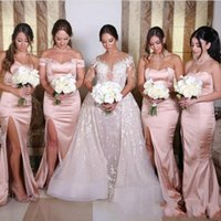 Wholesale line sweetheart satin wedding dress red for sale - Elegant Blush Pink Long Bridesmaids Dresses Sweetheart Neck Mermaid Satin Maid of Honor Gowns Wedding Guest Dresse With Side Split