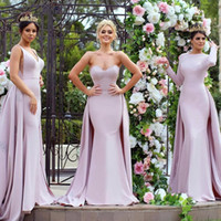 Wholesale long slim dress elastic - 2017 Fashion Blush Pink Mermaid Prom Dresses with Overskirt Train 3 Mixed Styles Custom Made Slim Formal Long Evening Celebrity Party Gowns