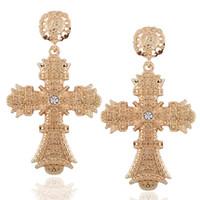 Wholesale Big Rhinestone Cross Pendants - Baroque Gold Color Big Cross Earrings For Women Bohemia Jewelry Rhinestones Cross Dangle Earrings Pendants Bijoux