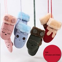 Wholesale Ski Gloves For Kids - Kids Gloves Mittens Children Rabbit Ear Cute Suede Boys Girls Warm Christmas kawaii SKi Gloves For Kid