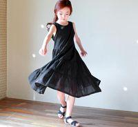 Wholesale Korean Cute Dress Lines - 2017 new styles Hot sell Super cute summer the Middle childhood Korean style vest longuette Princess sleeve Dress black Dress 100% Cotton