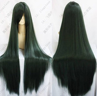 Бесплатная доставка HOT ~ SAILOR MOON Pluto Meiou Setsuna LONG STRAIGHT DARK GREEN COSPLAY WIG 100CM