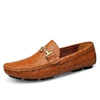 Wholesale Soft Printed Dress - Big Size 47 48 Genuine Leather Men Flats Shoes Mocassin Luxury Brand Soft Crocodile Leather Men Shoes Fashion Slip On Loafers 8