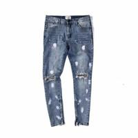 spray vintage achat en gros de-Gros-déchiré genou trous Vintage Bleu Denim Jeans Zippered Leg Ouverture Slim Fit Spray Peinture Biker Jeans Livraison gratuite