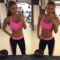 Wholesale Tight Dancing Suits - High Waist Stretched Sport Yoga Sets Suits Pants Bra Gym Polyester Running Tights Women Sports Leggings Fitness Dancing Clothes