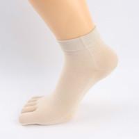 Wholesale Korean Silk Short Dress - Wholesale- Women Dress Silk Ankle Socks With Toes Summer 3d Female Short Plain Socks Five Finger Korean Knitted Packs Of Socks YS-BAC079
