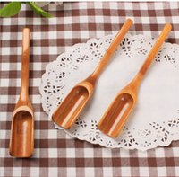 Wholesale Tea Accessories Free Shipping - Wooden Bamboo Tea Spoon Coffee Tea Cooking Utensil Length 18cm Tea Scoop Home Accessories Tool Free Shipping
