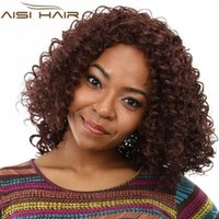 "Wholesale heat fashion - 18"" Fashion Black Women Quality Red Long Kinky Curly Hair Wig Heat Resisting Synthetic Hair Realistic For African American Wigs"