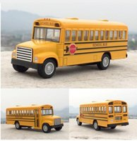 Wholesale Toy Buses American - Brand New KiNSMART 1:32 American School Bus Diecast Metal Car Model Toy For Kids Collection Gift Toys Free Shipping
