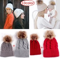 10Colores escolhem INS Xmas Mom e Me Twist Chapéus Winter Warm Baby Boys Meninas chapéus de cânhamo Crochet Knit Hairball Beanie Caps Hats Cup