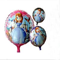 Wholesale Girls Helium Balloons - 18 Inch Round Foil Balloons Princess Sofia Helium Balloons Girls Birthday Party Decorations 50PCS=1 Clolor 3 Color