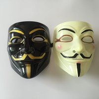 Wholesale Costumes Guys - Wholesale 100pcs Halloween Mask With Gold Eyeliner V for Vendetta Mask Guy Fawkes Party Costume Mask DHL Fedex Free Shipping