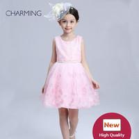 blumenartikel großhandel-Baby Kleid Spitze Kleider für Mädchen Mädchen Festzug Kleider mit Blumen kaufen Großhandel Artikel China Großhandel Websites Kinder Kleidung Boutique
