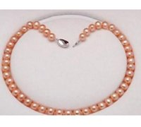 Wholesale south sea pearls singapore - 8-9mm south sea natural gold pink pearl necklace 18""