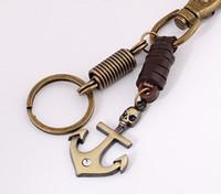Wholesale Vintage Jewlry - Leather Metal Anchor Keychains Keychain Car Key Chain Ring, Vintage Jewlry Women Bag Pendant, Cowboy Accessories