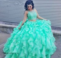 2017 Mint Green Zwei Stücke Quinceanera Kleid Prinzessin Cascading Puffy Sweet 16 Ages Lange Mädchen Prom Party Festzug Kleid Plus Size Custom Made