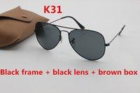 Wholesale Gradient Aviator Glasses - Classic brand sunglasses designer 58mm 62mm aviator sunglasses men's lady black glass lens gold frame uv400 driving sunglasses