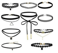 Wholesale Tattoo Choker Necklace Wholesale - 10pcs LOT Handmade Vintage Outus Flower Choker Necklace Set Stretch Velvet Classic Gothic Tattoo Lace Choker Necklaces FREE SHIPPING