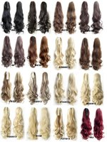 "Wholesale Long Curly Ponytail Extensions - Wholesale-Claw Clip Drawstring Ponytail 22"" Long Fake Hair Extensions False Hair Pony Tails Horse Tress Curly Hairpieces of Fiber Japanese"