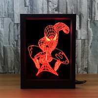 Wholesale Dropship Factory - 3D Spiderman LED Photo Frame IR Remote 7 RGB Lights AAA Battery or DC 5V Factory Wholesale Dropship Free Shipping