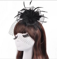 Wholesale Modern Trim - 2017 Modern White Black Mesh Feathers Hats ,Banquet Stage Hair Trim Headband Hoop Bride Little Salute Head Flower
