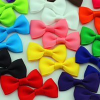 """Wholesale Diy Small Flowers Ribbon - Wholesale- 48pcs lot 2"""" Girls Little Bow DIY small Grosgrain Ribbon Bows Flower Appliques sew Craft Kid's cloth Baby Infant Accessories"""