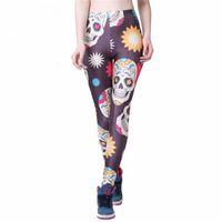 Wholesale Hot Skull Print Legging - Wholesale- Leggings 2016 Hot! Wholesale Women's Stars Skull Cartoon Leggings-Summer styles Digital Printing Pants Slim Legging