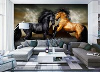 Wholesale painted horse art for sale - Group buy Home Decor Natural Art Background wall painting horses d murals wallpaper for living room
