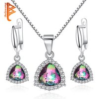 Wholesale girl huge - BELAWANG Huge Rainbow Fire Mystic Purple Crystal 925 Silver Jewelry Sets For Women Earrings Necklace Pendant With 45CM Adjustable Box Chain