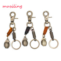 Wholesale Personalized Leather Key Chain - Leather Key Chain Hand Grenades Pendant Car Key Rings Material Antique Copper Alloy Personalized Design Vintage European Charm Jewelry