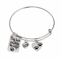 "Wholesale Spring Lover Ring - Lovely Paw Prints Bracelet ""Dog Hair Completes the Outfit"" Dog Tag Heart Shape Charm Bangle Pet Lover Jewlry"
