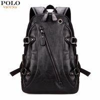 Wholesale Multifunctional Backpack Male - Wholesale- VICUNA POLO Fashion Casual Brand Leather Mens Travel Backpacks Cool Multifunctional Laptop Backpacks Mens Backpack Bag Male Bag