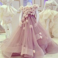Wholesale cheap pretty wedding dresses - Pretty High Neck with Flowers Tulle Flower Girl Dresses A Line Prom Kids Dress Cheap Communion Dresses 2017 Sweep Train Girls Pageant Dress