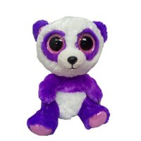 Atacado- Ty Beanie Boos Original Big Eyes Brush Toy 10 - 15cm Purple Panda TY Baby For Kids Brithday Gifts