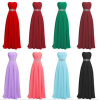 Wholesale Hot Pink Strapless Prom Dress - 2017 Beach Prom Dresses Cheap Chiffon Evening Dresses hot Beaded Crystals Floor Length Bridesmaid Orange Long Gowns Dresses