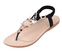 mädchen böhmische sandalen großhandel-HEISS!! Sommer Flip Flops Frauen Sandalen Bohemian Mädchen Sandale Tanga Perlen Metallschnallen Flip-Flops Strand Schuhe